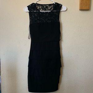 Lace top, multi tiered black body con dress